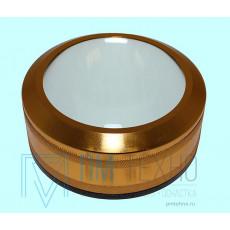 Лупа настольная контактная 5.0Х, D 90мм золотистая без ручки
