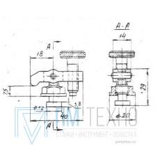Прижим-качалка  40х 28х 7,5 с цилиндрическим концом стержня М8 (ДСПМ8-08)